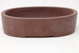 "Chinese Production Brown Oval Bonsai Pot - Unglazed- 6"" x 4.5"" x 1.5"""