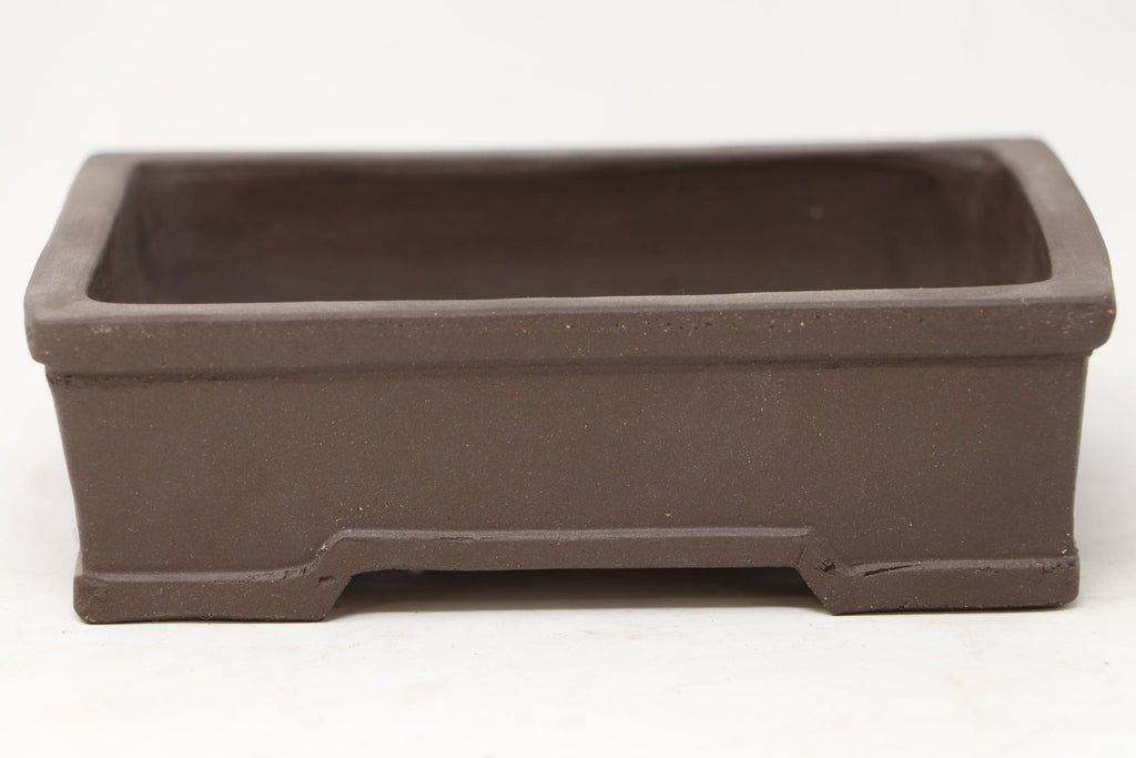 "Chinese Production Brown Rectangle Bonsai Pot - Unglazed- 6.25"" x 4.75"" x 2"""