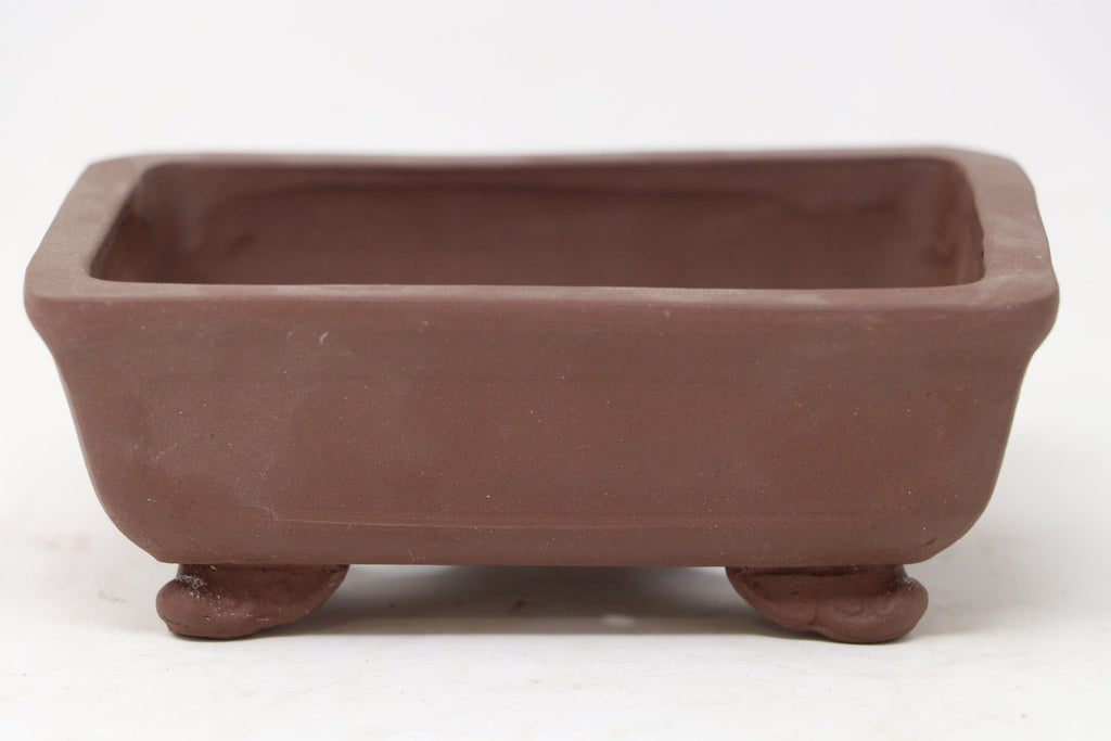 "Chinese Production Brown Rectangle Bonsai Pot - Unglazed- 6"" x 4.75"" x 2.25"""