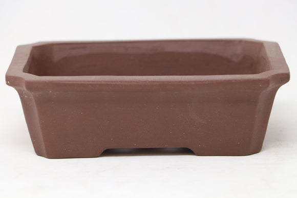 Chinese Production Brown Rectangle Bonsai Pot - Unglazed- 6