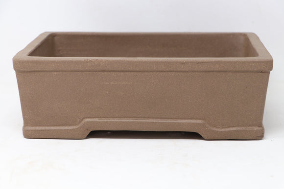 Chinese Production Brown Rectangle Bonsai Pot - Unglazed- 10.25