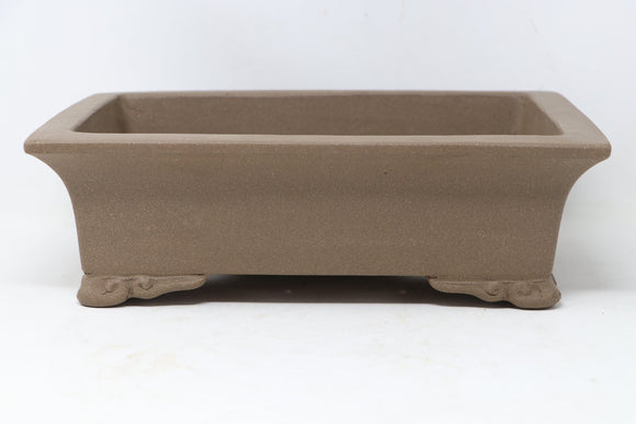 Chinese Production Brown Rectangle Bonsai Pot - Unglazed- 12