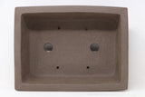 "Chinese Production Brown Rectangle Bonsai Pot - Unglazed- 10"" x 7.5"" x 3.25"""