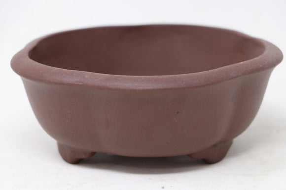 Chinese Production Brown Round Bonsai Pot - Unglazed- 5.5