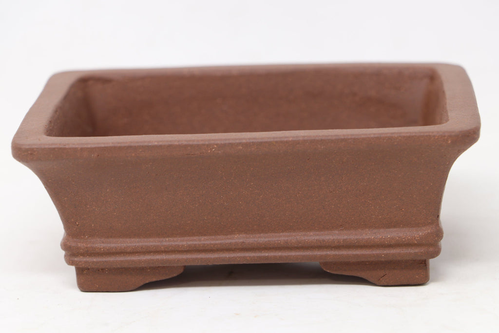 "Chinese Production Brown Rectangle Bonsai Pot - Unglazed- 6"" x 4.5"" x 2.25"""