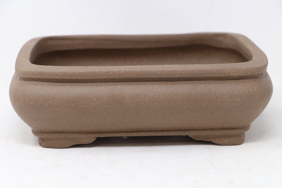 Chinese Production Brown Rectangle Bonsai Pot - Unglazed- 8.25