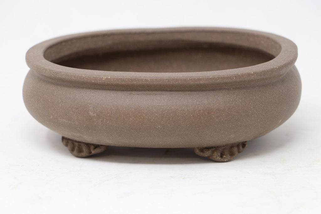 "Chinese Production Brown Oval Bonsai Pot - Unglazed- 6"" x 5"" x 2"""