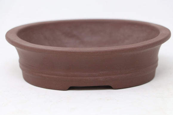 Chinese Production Brown Oval Bonsai Pot - Unglazed- 6
