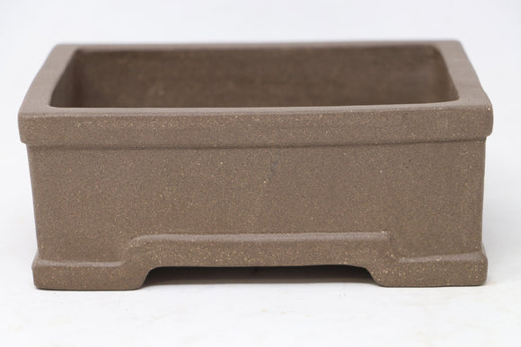 Chinese Production Brown Rectangle Bonsai Pot - Unglazed- 6.25
