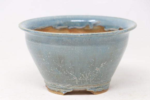 Sam Miller Blue Round Bonsai Pot - Glazed - 5.5