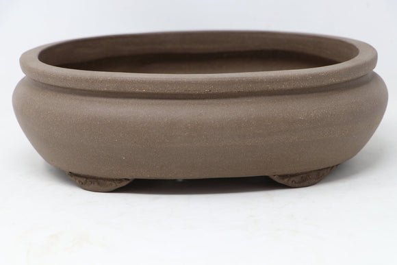 Chinese Production Brown Oval Bonsai Pot - Unglazed- 10.5