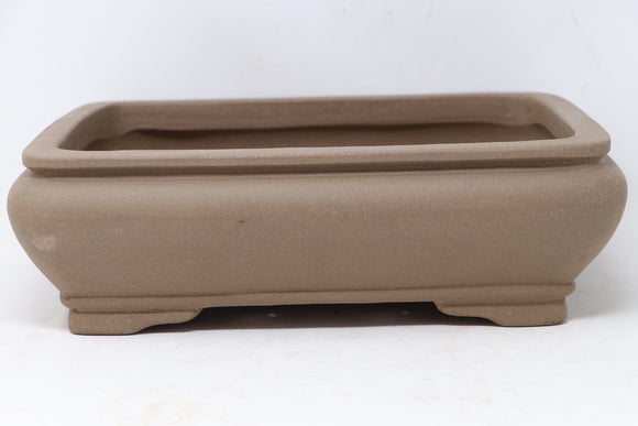 Chinese Production Brown Rectangle Bonsai Pot - Unglazed- 12.25