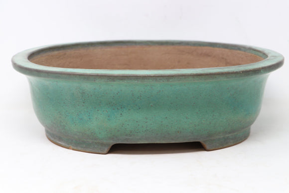 Japanese Yamafusa Blue Glazed Oval Bonsai Pot