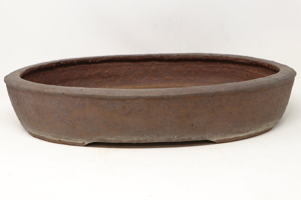 "Japanese Sugiura Keisen Oval Bonsai Pot - 18.65"" x 14"" x 3.2"""