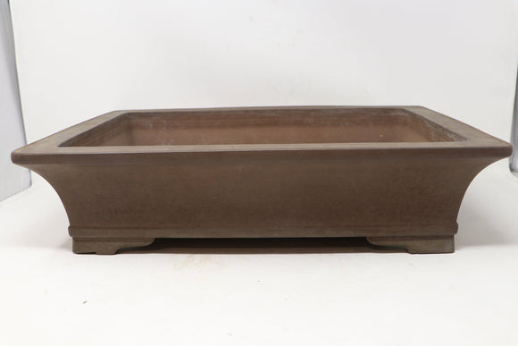 Tokoname Gyouzan Nakano Yukizou Rectangle Unglazed Bonsai Pot - 18.25