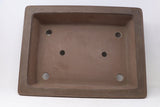 "Tokoname Gyouzan Nakano Yukizou Rectangle Unglazed Bonsai Pot - 18.25"" x 13.75"" x 4.5"""
