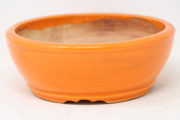 Sam Miller Orange Round Bonsai Pot - Glazed - 6.5