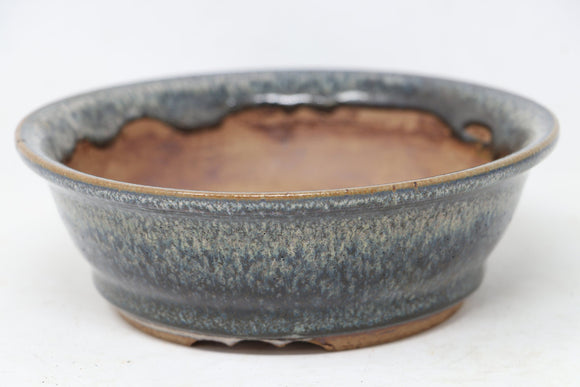 Sam Miller Blue Round Bonsai Pot - Glazed - 6.75