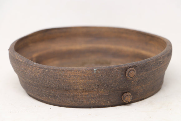 Brian Soldano Round Brown Stained Bonsai Pot - 6.5