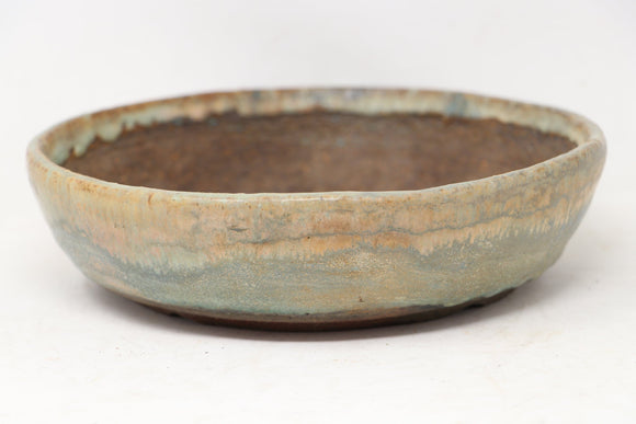 Erin Blue/Green Round Bonsai Pot - Glazed - 8.5