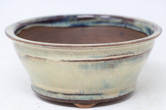Brian Soldano Round Cream Bonsai Pot - Glazed - 6.75
