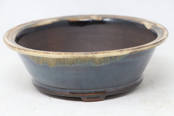 Brian Soldano Round Blue Bonsai Pot - Glazed- 7.25