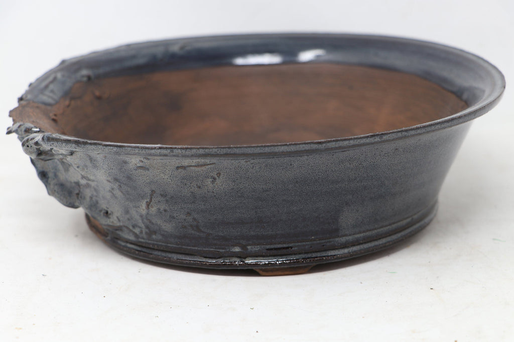 "Brian Soldano Blue And Gray Glazed Round Bonsai Pot - 9"" x 2.75"""