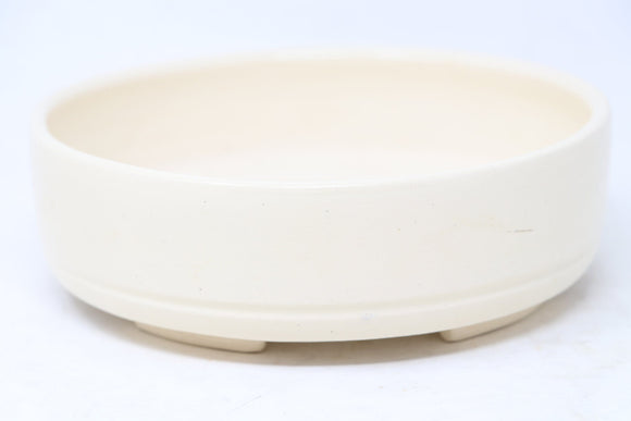 Bob Pruski Cream Round Bonsai Pot - Glazed- 7