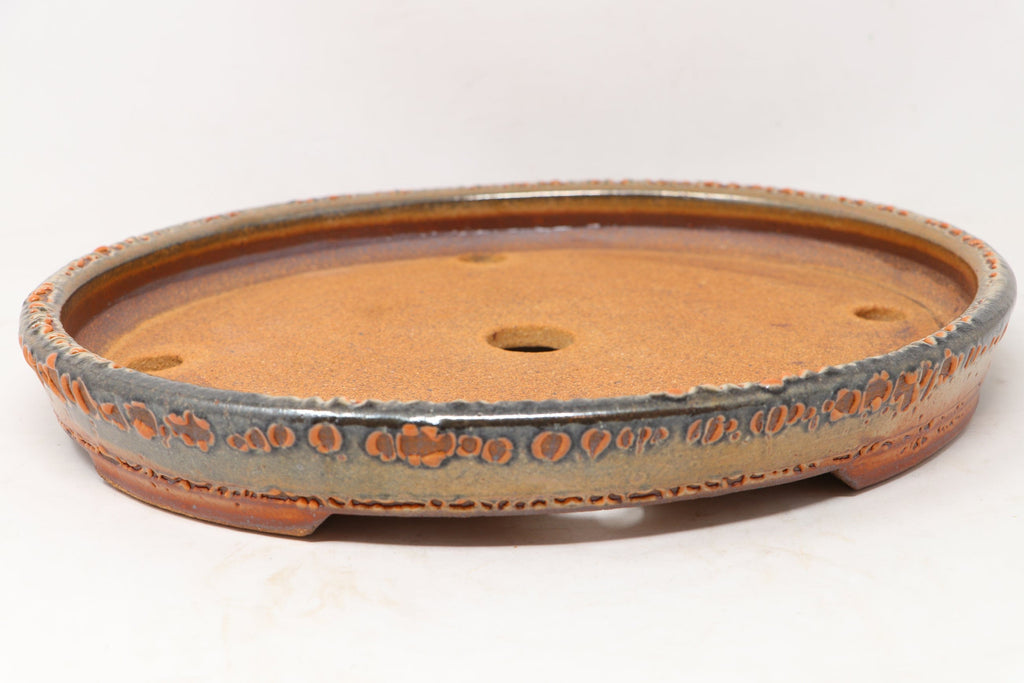"Ron Lang Brown Oval Bonsai Pot - Glazed - 12.75"" x 11"" x 1.75"""