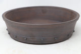 "Bob Pruski Brown Round Bonsai Pot - Unglazed- 9.25"" x 9.25"" x 2.5"""