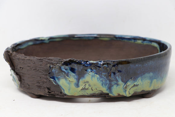 Brian Soldano Oval Blue Bonsai Pot - Glazed - 9