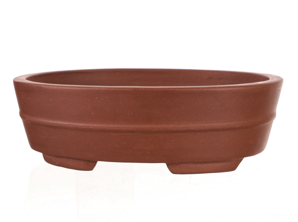 "Chinese Production Red Oval Bonsai Pot - Unglazed- 8.25"" x 6.5"" x 2.5"""