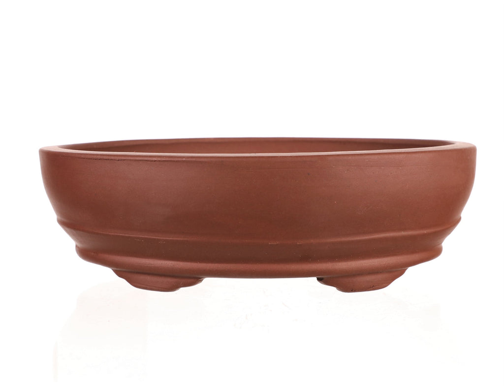 "Chinese Production Red Oval Bonsai Pot - Unglazed- 7.75"" x 5.5"" x 2.25"""