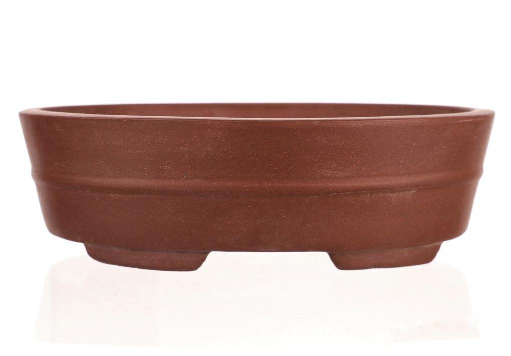 "Chinese Production Brown Oval Bonsai Pot - Unglazed- 8.25"" x 6.5"" x 2.5"""