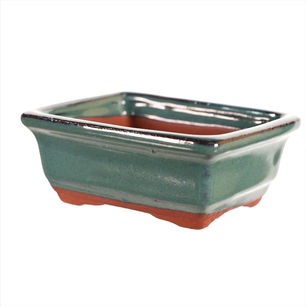 "Chinese Production Teal Rectangle Bonsai Pot - Glazed- 4"" x 3.25"" x 1.5"""