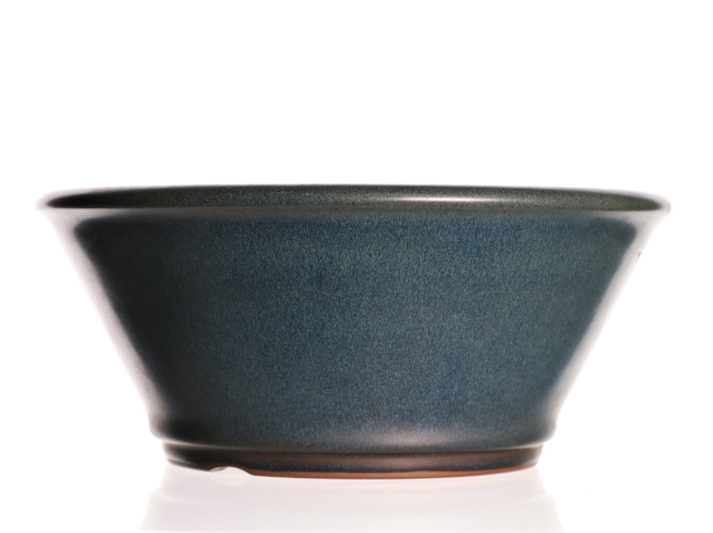 "Japanese Tokoname Yamaaki Semi Cascade Blue Glazed Round Bonsai Pot- 8.75"" x 8.75"" x 4"""