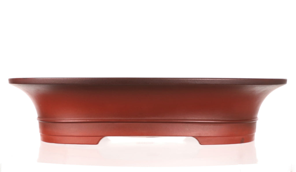 "Tokoname Bigei Red Glazed Oval Bonsai Pot- 12.75"" x 10"" x 2.75"""
