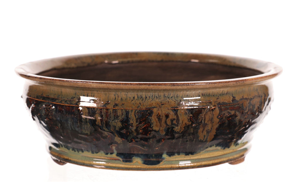 "Brian Soldano Navy & Tan Glazed Round Bonsai Pot- 9"" x 9"" x 3"""