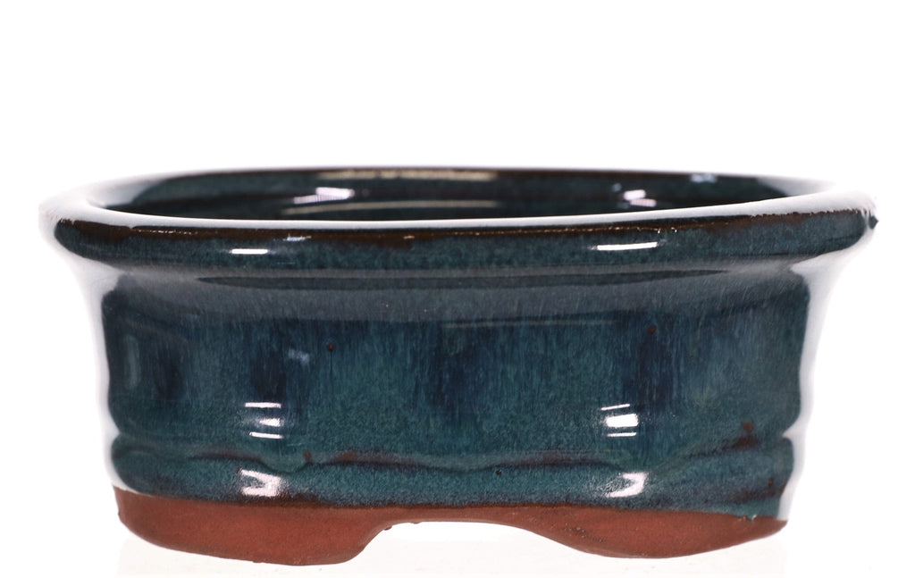 "Chinese Production Teal Blue Glazed Oval Bonsai Pot - 5.25"" x 4.25"" x 2.25"""