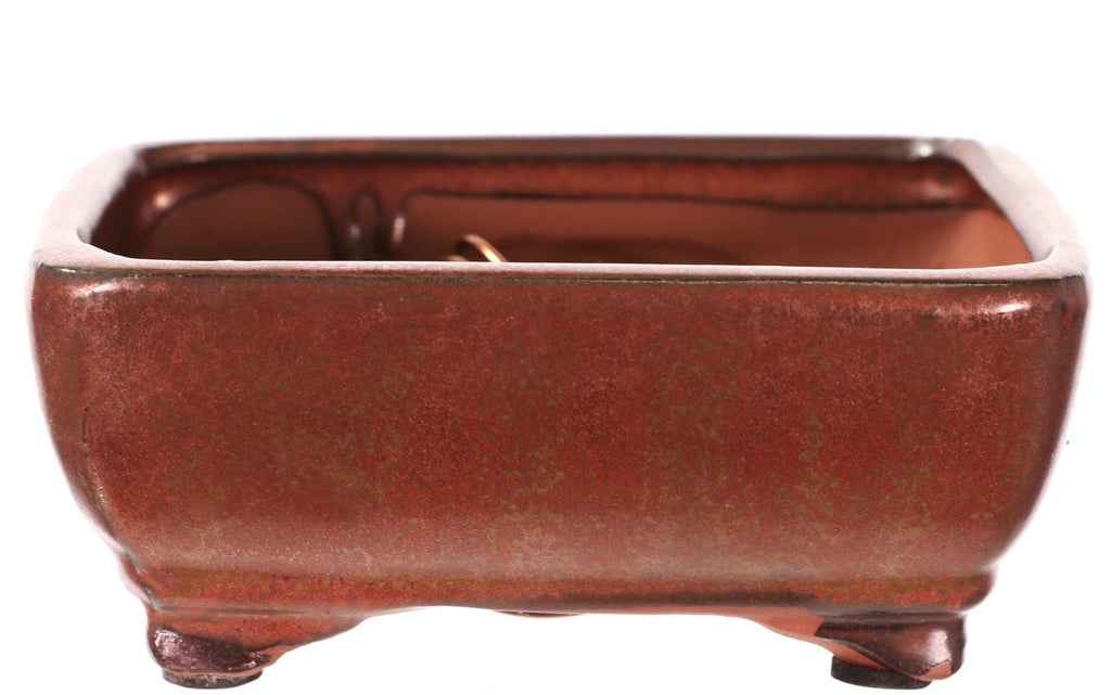 "Chinese Production Copper Glazed Rounded Rectangle Bonsai Pot - 6.25"" x 4.75"" x 2.5"""
