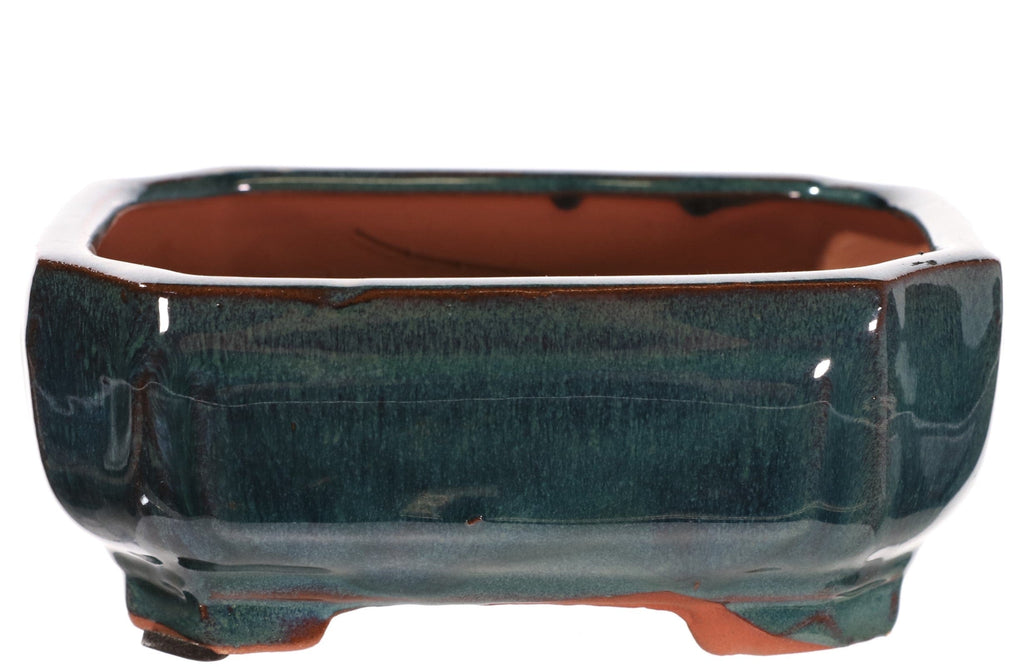 "Chinese Production Teal Glazed Indented Rectangle Bonsai Pot - 6.25"" x 4.75"" x 2.75"""