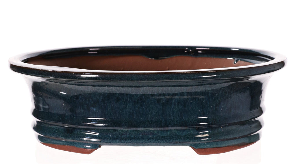 "Chinese Production Dark Teal Glazed Oval Bonsai Pot - 12.5"" x 9.75"" x 3.5"""