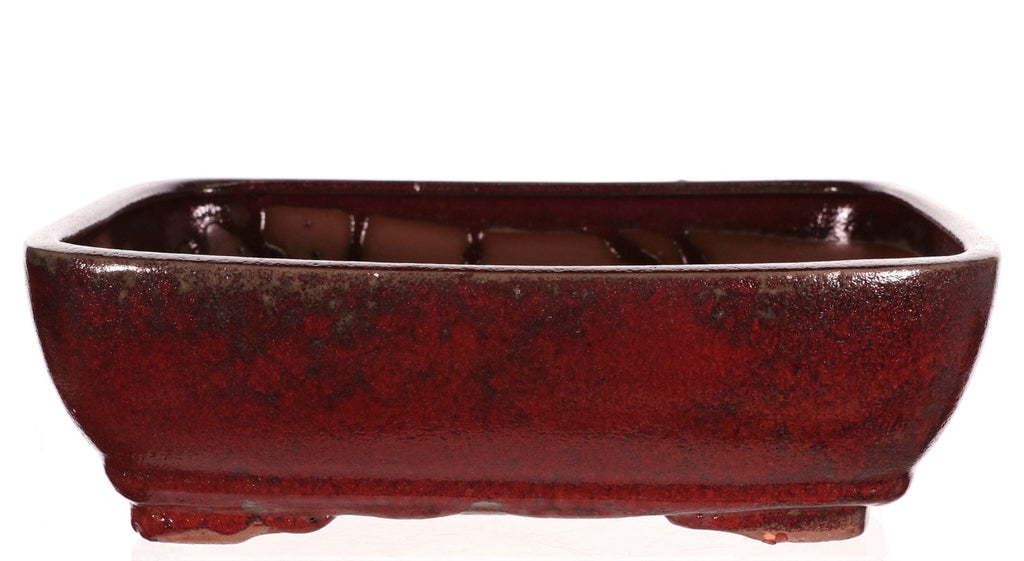 "Chinese Production Crimson Glazed Rounded Rectangle Bonsai Pot - 12.5"" x 10"" x 3.75"""