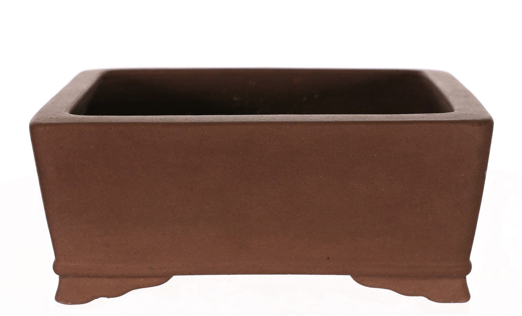 "Tokoname Shukozan Tan Unglazed Rounded Rectangle Bonsai Pot - 9"" x 7.25"" x 3.75"""