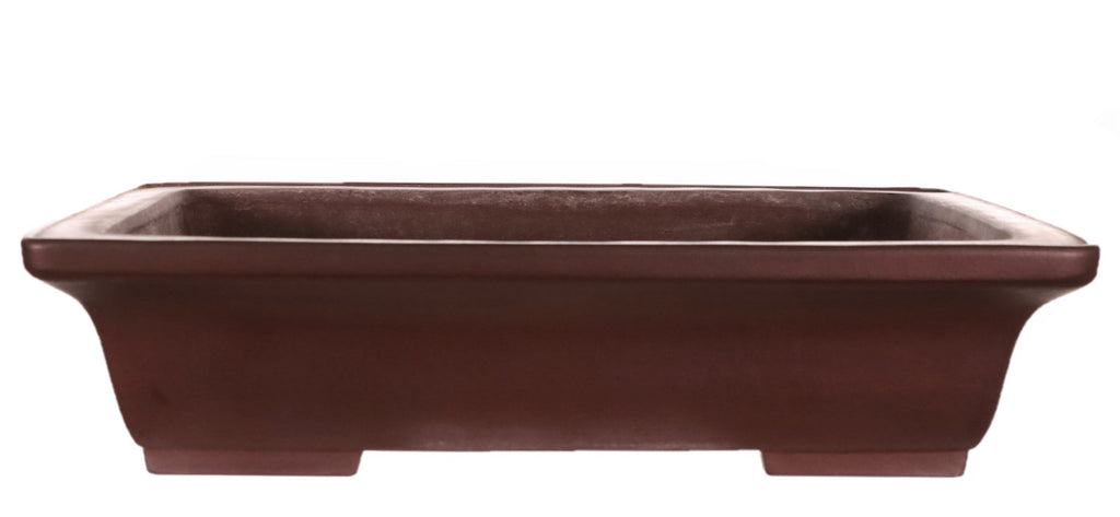 "Tokoname Yamaaki Dark Brown Unglazed Rounded Rectangle Bonsai Pot - 13"" x 9.5"" x 3"""