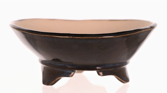 Steve Gossert Midnight Blue Glazed Round Bonsai Pot - 5.75