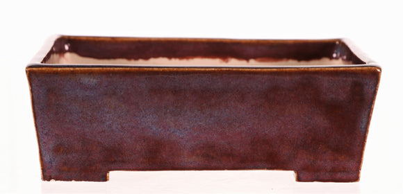 Steve Gossert Purple & Maroon Glazed Rectangle Bonsai Pot - 5.5
