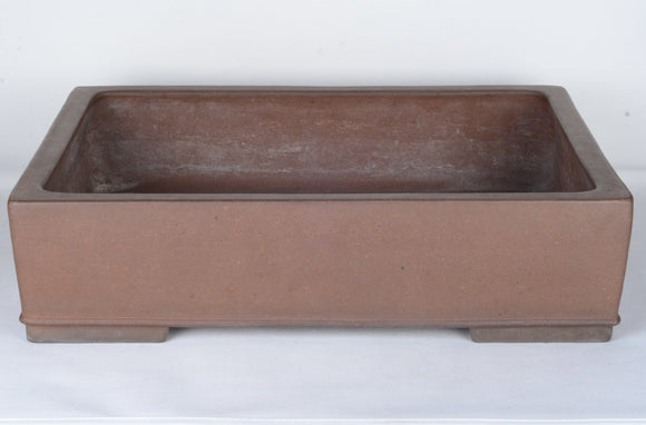 Japanese Unglazed Nakano Yukizou Gyouzan large Rectangle Bonsai Pot - 17.75