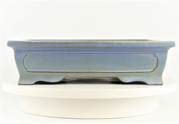 Japanese Tokoname Yamaaki Baby Blue Rectangle Bonsai Pot - 13.75