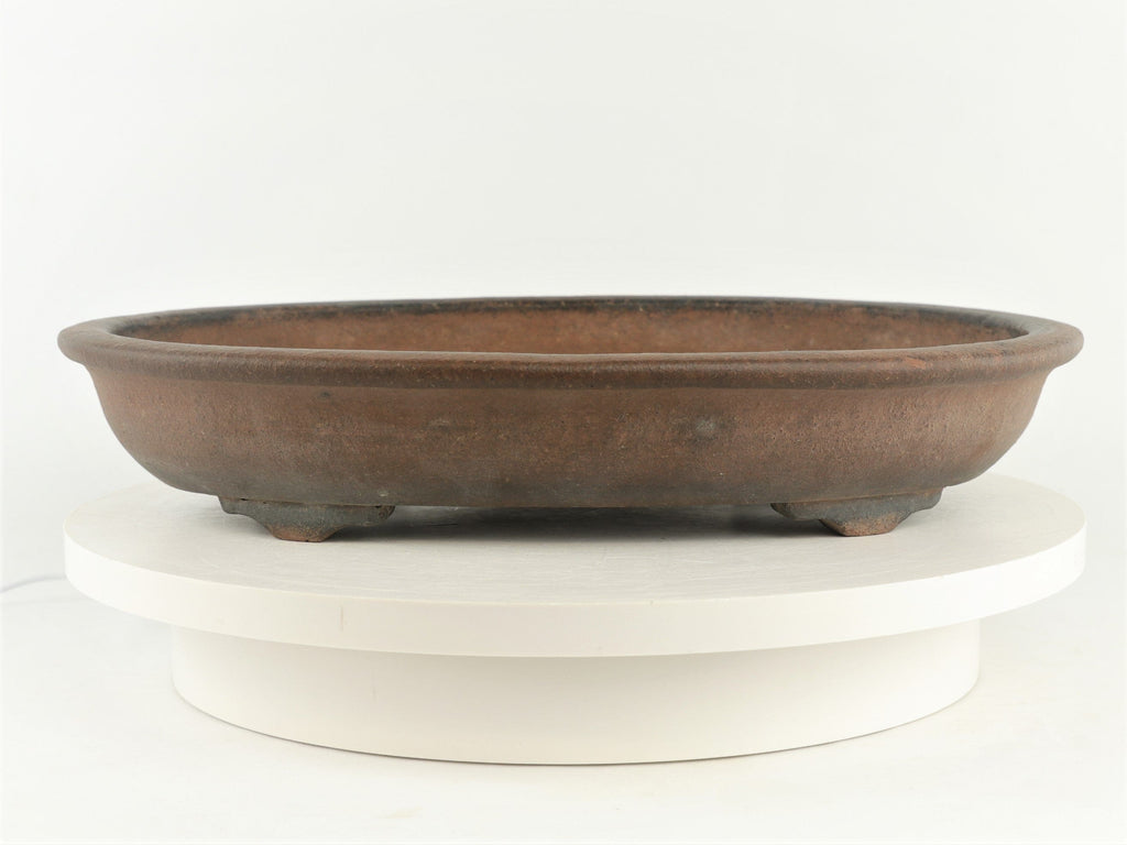 "Antique Chinese Oval Bonsai Pot - Nakawatari era (120+ years old) - 15.75"" x 11.5"" x 2.75"""